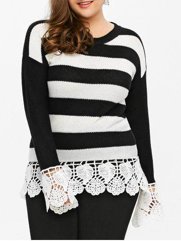 Plus Size Lace Insert Striped Sweater - Black Stripe - Xl
