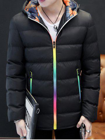 Discount Pocket Rainbow Zippers Hooded Padded Jacket
