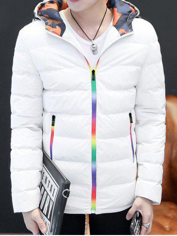 Trendy Pocket Rainbow Zippers Hooded Padded Jacket