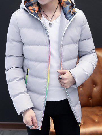 Online Pocket Rainbow Zippers Hooded Padded Jacket