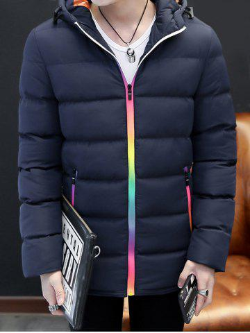 Cheap Pocket Rainbow Zippers Hooded Padded Jacket