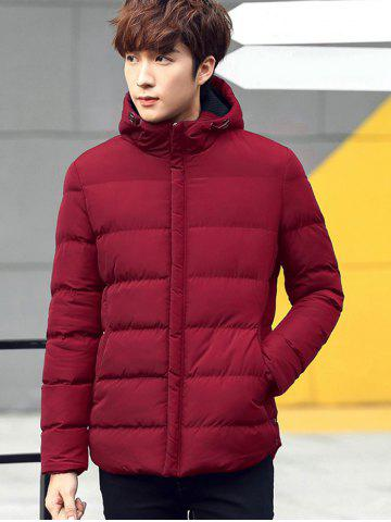 Best Plain Pocket Zip Up Hooded Padded Jacket