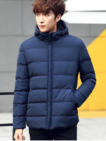 Fashion Plain Pocket Zip Up Hooded Padded Jacket