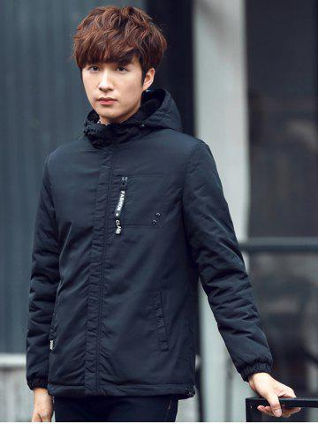 New Pocket Elastic Cuff Zippered Hooded Padded Jacket