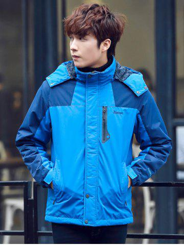 Discount Two Tone Zippered Hooded Flocking Jacket
