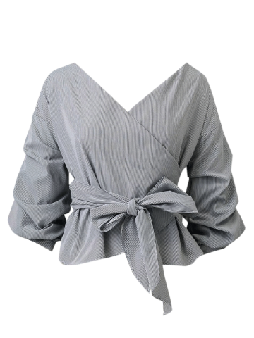 Latest Striped Belted Surplice Blouse