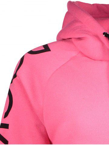 Latest Drawstring Letter Printed Funny Hoodie - XL PINK Mobile