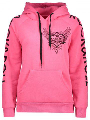 Chic Drawstring Letter Printed Funny Hoodie - L PINK Mobile