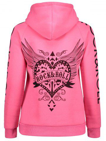 Latest Drawstring Letter Printed Funny Hoodie - L PINK Mobile