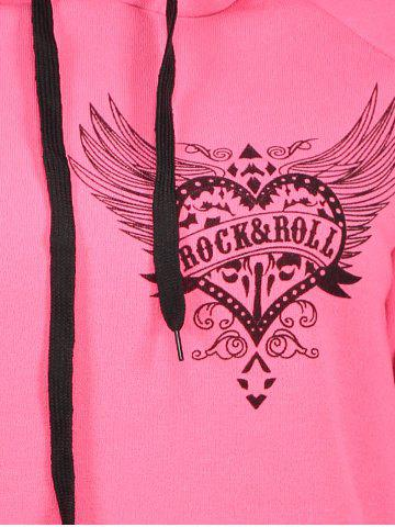 New Drawstring Letter Printed Funny Hoodie - L PINK Mobile