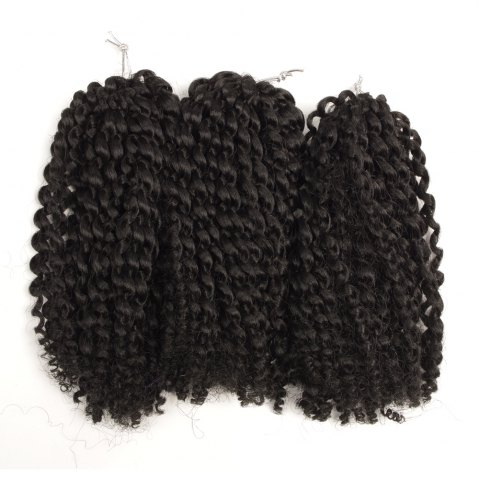 Outfit Short Fluffy Curly Heat Resistant Fiber Hair Extension - BLACK  Mobile