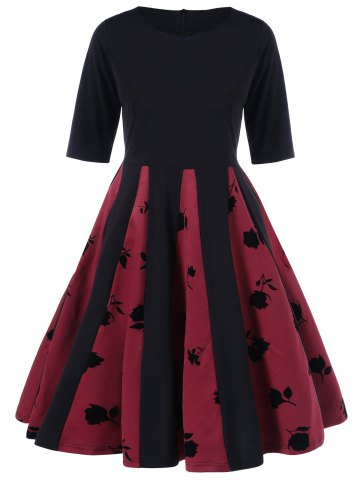 Rose Print Pleated Flare Dress - Black And Red - L