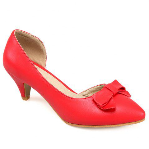 Fashion Cone Heel Faux Leather Pumps RED 39