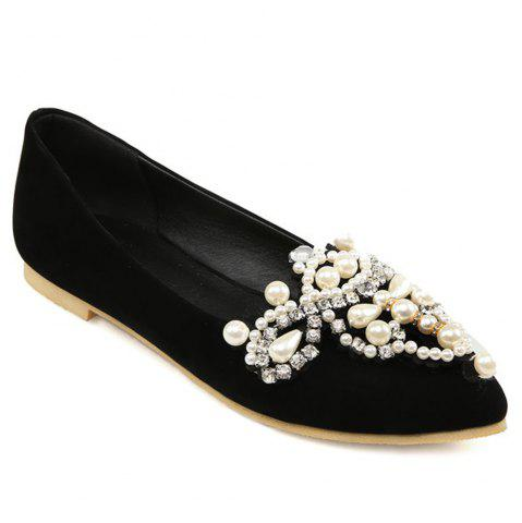 New Faux Pearls Pointed Toe Flat Shoes
