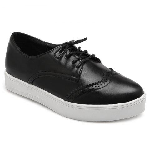 New Tie Up Pointed Toe Athletic Shoes BLACK 39