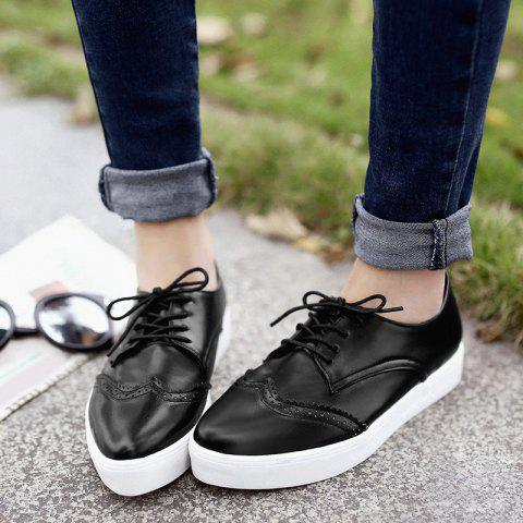 Buy Tie Up Pointed Toe Athletic Shoes - 37 BLACK Mobile