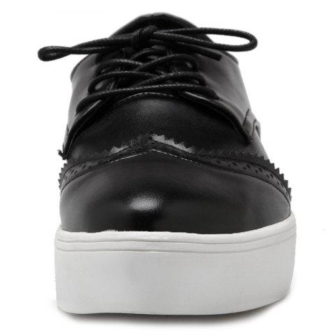Discount Tie Up Pointed Toe Athletic Shoes - 37 BLACK Mobile