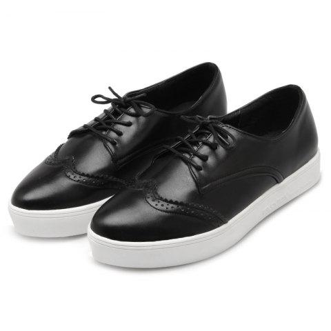 Chic Tie Up Pointed Toe Athletic Shoes - 37 BLACK Mobile