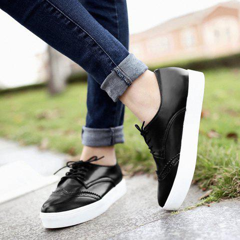 Outfit Tie Up Pointed Toe Athletic Shoes - 37 BLACK Mobile