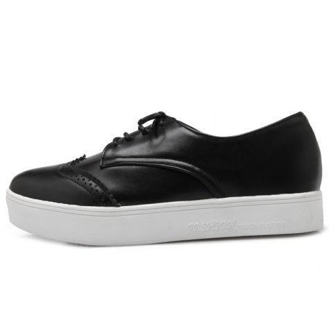 Outfits Tie Up Pointed Toe Athletic Shoes - 37 BLACK Mobile