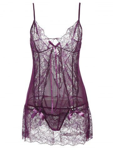 Online See-Through Lace Insert Babydoll PURPLE L