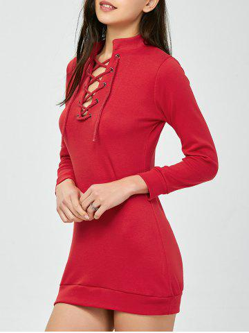 Lace-Up Mini robe manches longues Bodycon Rouge 2XL
