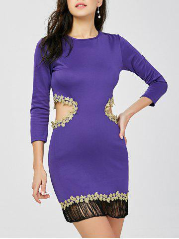 Outfit Fringed Cut Out Applique Tight Bodycon Dress PURPLE S