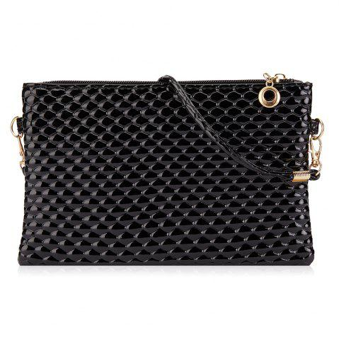 Outfit Double Zipper Faux Leather Crossbody Bag BLACK