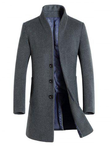 Slimming Stand Collar Single Breasted Wool Blend Coat - Gray - 4xl