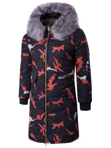 Unique Zip Up Camo Padded Coat with Furry Hood - L RED Mobile