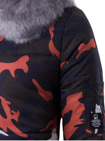 Discount Zip Up Camo Padded Coat with Furry Hood - L RED Mobile