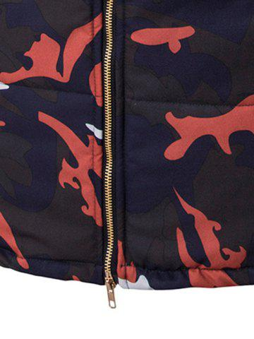 New Zip Up Camo Padded Coat with Furry Hood - L RED Mobile