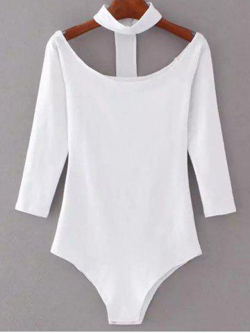 Outfit Off The Shoulder Choker Bodysuit WHITE M