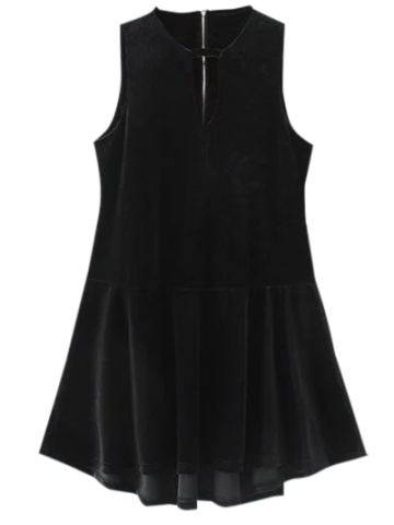 Velvet Sleeveless Mini Dress - Black - S