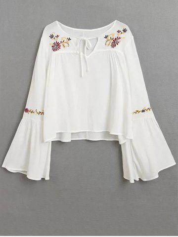Shops Embroidered Lace Up Flare Sleeve Blouse