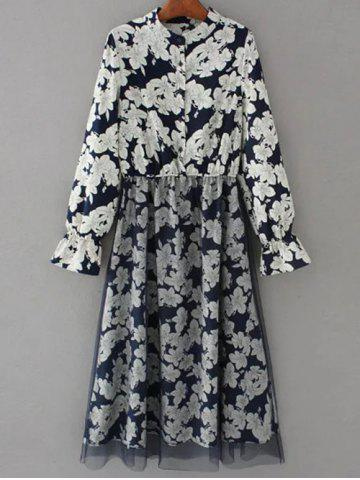 Tulle Panelled Floral Long Sleeve Dress - Purplish Blue - M