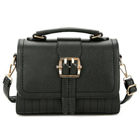 Store Buckle Strap Faux Leather Crossbody Bag BLACK