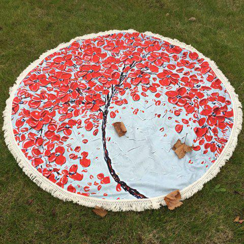 Peinture Flowered huile d'arbre Plage ronde Throw avec Tassel Rouge TAILLE MOYENNE