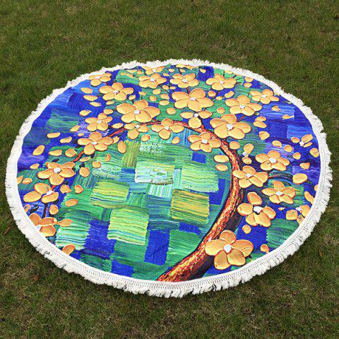 Outfits Flowered Tree Oil Painting Round Beach Throw with Tassel