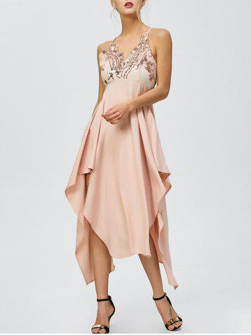 Fashion Sequin Nude Handkerchief Cami Midi Night Out Dress - XL LIGHT APRICOT PINK Mobile