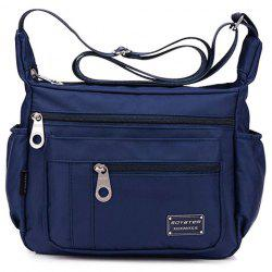 Leisure Zippers and Nylon Design Shoulder Bag For Women - DEEP BLUE