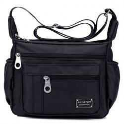 Leisure Zippers and Nylon Design Shoulder Bag For Women - BLACK