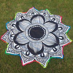 Striped Lotus Flower Beach Throw with Small Pompons