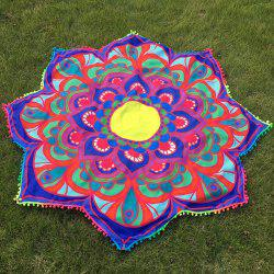 Mandala Lotus Flower Throw plage avec petits Pompons -