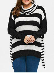 Plus Size Striped Turtleneck Asymmetric Sweater - BLACK