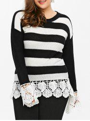 Plus Size Lace Insert Striped Sweater - BLACK STRIPE