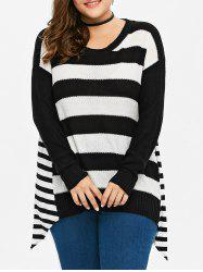 Plus Size Striped Asymmetric Sweater