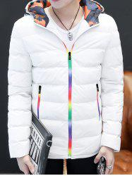 Pocket Rainbow Zippers Hooded Padded Jacket