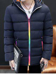 Pocket Rainbow Zippers Hooded Padded Jacket -