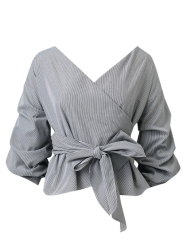Striped Belted Surplice Blouse -